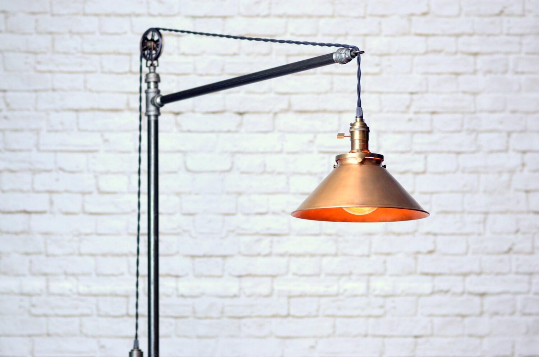 industrial floor lamp copper shade edison bulb. Black Bedroom Furniture Sets. Home Design Ideas