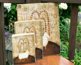 Primitive Folk Art Sheep Picture / Art  Adhered To Wood / Three sizes available  / Wall Art /  Made in the USA / Grain Sack / Alphabet