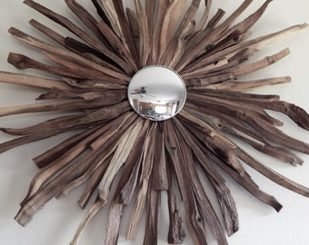 Natural Walnut Starburst, Driftwood Reclaimed Wood Art ,READY TO SHIP