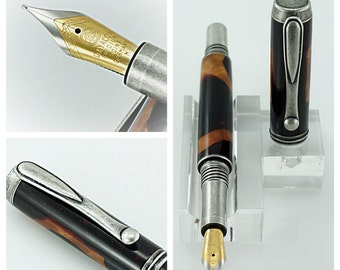Custom Wooden Pen this Custom Fountain Pen made from a mixture of Maple and Acrylic Antique Pewter Hardware 831FPA