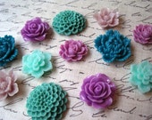 Flower Cabochons, 12 pcs, Cabochon Flowers in Teal, Sage, Aqua and Lilac, Resin Roses, Dahlias, Sakura, Perfect for DIY Jewelry Projects