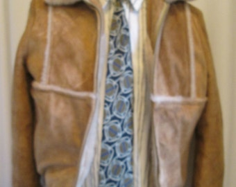 vintage, shearling sheepskin bomber style coat with faux fur lining by Garfel of France mens size M