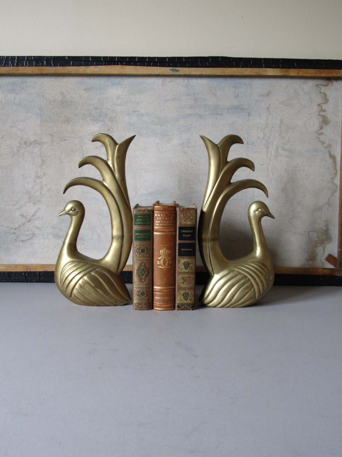 Vintage Brass Bookends Peacock Bookends Vintage Brass