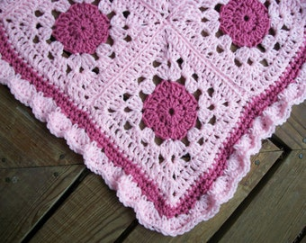 """Baby Girl Blanket/Afghan Crocheted Pastel Pink Yarn Light Raspberry Yarn   16 """"Circle In A Square"""" Granny Squares 34"""" Square READY TO SHIP"""
