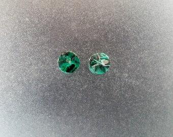 "Chrysocolla Malachite 1/4"", 2g Ear plugs one pair"