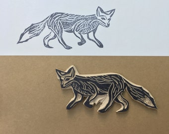 Fox rubber stamp, animal scrapbook, camping, outdoors, hand carved, fox stamp, fox, amimal stamp, wolf stamp, stationary, DIY stamp