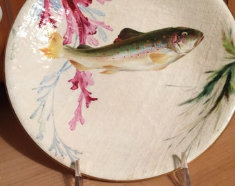 Antique Plate/Fish Display Plate/Royal Worcester/Circa 1860s/Hand Painted/Linen Textured Finish/Cabinet Display/Collectible/9 Plus Inches