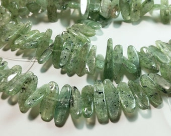 Genuine Kyanite Green Tourmaline Color Flat Tooth Nugget Beads 13mm  -  30mm