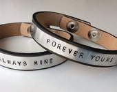 Couples bracelet leather cuff, name on bracelet for couples, custom made bracelets for valentines day, always & forever jewelry bracelet