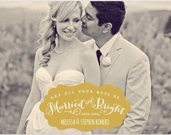 Married & Bright Christmas Card - Photo Christmas Card - Photo Holiday Card - Newlywed Christmas Card
