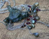 RESERVED Rustic Primitive Carved Labradorite Wolf necklace n12b- wolves necklace . bohemian necklace . stainless statement necklace