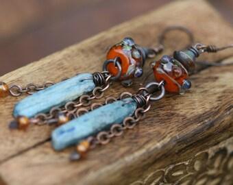 Rustic Primitive Earthy Summery Blue Kyanite Slabs and Artisan  Lampwork earrings n223 - orange and blue artisan . primitive and organic