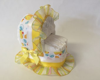 Baby Shower Diaper Cake Bassinet- Rubber Ducky Blue,White and Yellow