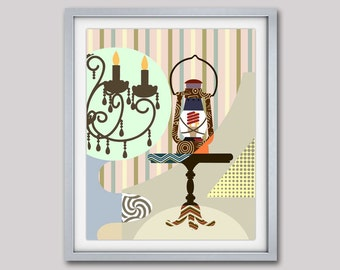 Retro  Art Work, Retro Poster, Retro Wall Decor, Home Decor, Living Room Decor, Lantern Decor, Light Decor, Wall Art