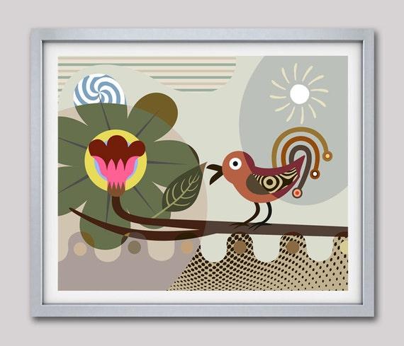 Bird Artwork, Whimsical Bird Art, Bird Print, Bird Poster, Bird Painting, Bird Wall Art Decor, Bird Wall Hanging, Bird Gift