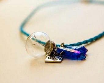 Make a wish dandelion mermaid quartz necklace