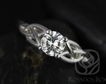 McCara 5mm 14kt White Gold Round F1- Moissanite Celtic Knot Engagement Ring (Other Metals and Stone Options Available)
