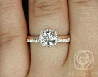 Rosados Box Ready to Ship Bella 6mm & Romani 14kt Rose Gold Morganite and Diamonds Cushion Halo Wedding Set
