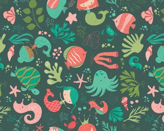 """Ocean Play, by Heather Rosas - 100% Cotton, 44"""" Wide, by the half yard"""