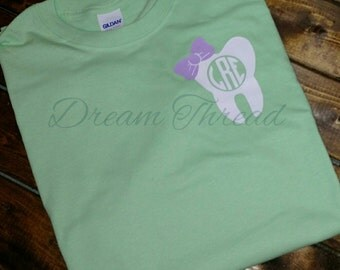 Monogram tooth bow T-shirt, dentist, orthodontics, orthodontist, tooth tee, tooth monogram Decal (made to order)