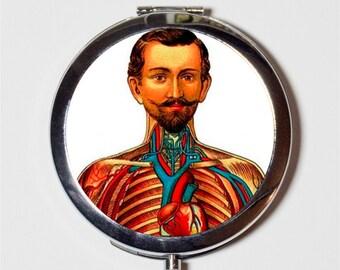Victorian Medical Oddity Compact Mirror - Anatomy Medicine Macabre Oddities - Make Up Pocket Mirror for Cosmetics