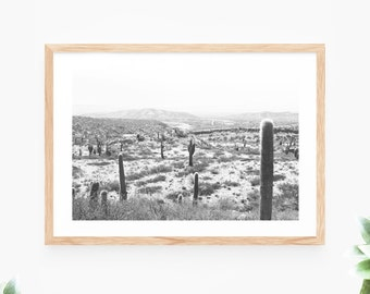 Cactus Printable Wall Art Black and White Landscape Photo Instant Download Desert Wall Decor Modern Wall Art Printable Art Poster Photograph