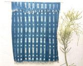 Vintage African Indigo Textile, Indigo Throw, African Indigo Fabric, Indigo Cloth, Indigo Mudcloth Hand dyed indigo Blanket #36