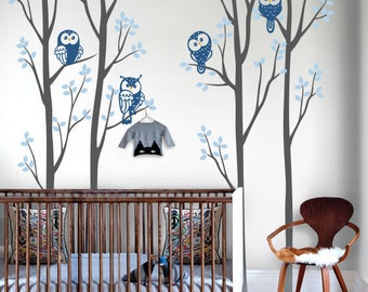 Owls and Trees Wall Decal Sticker