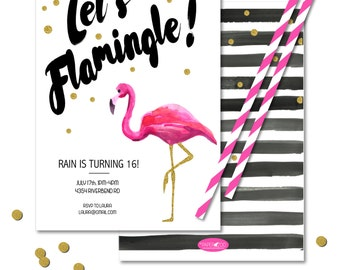 INSTANT DOWNLOAD 5x7 Printable Flamingo Invitation/ Birthday/ Baby Shower/ Wedding Shower/ Any Occasion/ You edit in Adobe Reader