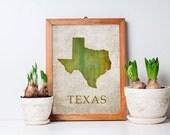 Texas Art Print -  Wood Block Wall Decor