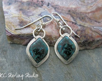 Natural chrysocolla malachite and sterling silver handmade dangle earrings - metalsmith silversmith