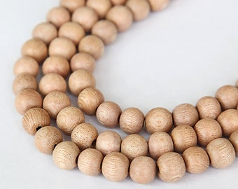 Rosewood Beads, Beige, 8mm Round - 15.5 inch Strand - eW679-8