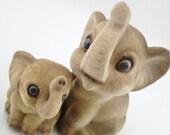 Josef Original Flocked 2 Vintage Fuzzy Animals Momma and Baby Elephants Circus Zoo Jungle
