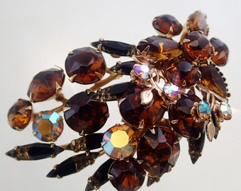 FREE Shipping Vintage Rhinestone Leaf Spray Brooch Pin Amber Brown Austrian Crystal Pressed Glass Large Big 1950s