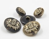 6 Pcs 0.59~0.91 Inches High-grade Retro British Lion Crown Black/Khaki Resin Metal Shank Buttons For Coats