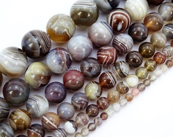 Natural Botswana Agate Gemstone Round Beads 15.5'' 4mm 6mm 8mm 10mm 12mm 14mm for Jewelry Making Crafts