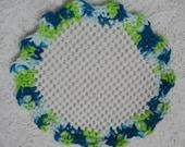 Crocheted Lid Jar Bottle Opener Teal Green White Scalloped Edging Jar Grabber
