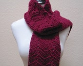 Scarf Ripple Chevron Burgandy Neck Warmer Hand Crocheted