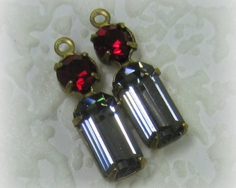 Swarovski Crystal Black Diamond Siam Multi 2 Stone Rhinestone 19MM Brass Long Baguette 1 Ring Drop