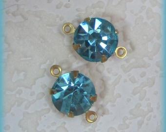 Aquamarine Blue Rhinestone Crystal Round 16MM 2 Rings Brass Setting Connector