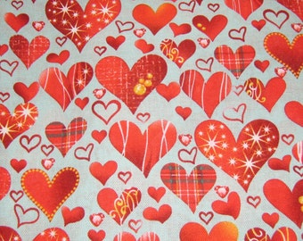 Blue Hearth Cotton Fabrick, Blue and Red Cotton fabric, Fabric By The Yard, Valentine Fabric, Red Fabric, Blue Fabric