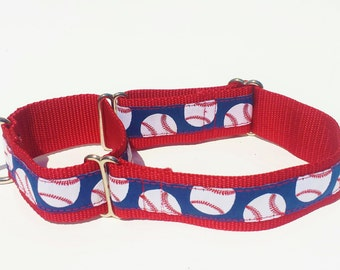 "1 1/2"" Wide Jacquard Martingale Collar, Baseball, Blue, Red and White"