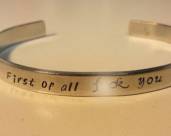 First of all f*ck you -  Metal Stamp Bracelet (HClpJl)