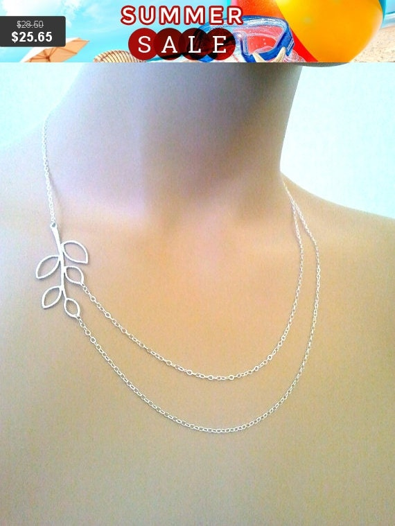 LEAF Necklace, Branch Statement Necklace, Double Strand,lariat, Wedding Necklace, Bridal Jewelry, Bridesmaid Gift, Gift for Her, GIFT