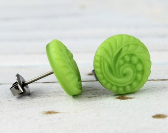 Spring Green Swirl - vintage Czech glass button post earrings, repurposed, up cycled  earrings