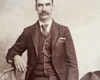 Sharp Dressed Man Antique Photo Great Mustache Cusick Ark City Kansas