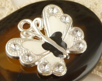 Black and White Enameled Sparkle Butterfly Charms, Silver tone (2)