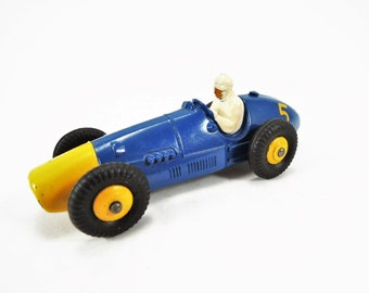 Vintage Dinky Toy, Ferrari Race Car Model No. 23H, Diecast, Excellent Condition, Blue Body, Yellow Number 5, Yellow Ridged Hubs, Black Tires