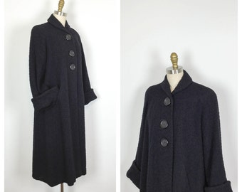 RESERVED for Linda • 40s Black Bouclé Wool Swing Coat • 1940s Trapeze Coat • Warm Vintage Tent Coat • Oversized • Large