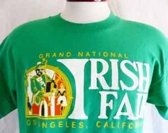 vintage 80's 90's Grand National Irish Fair Los Angeles California green graphic t-shirt gold yellow logo white puffy print crew neck large